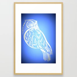 Owl with blue and white patterns Framed Art Print