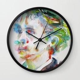 LEOPOLD VON SACHER-MASOCH - watercolor portrait Wall Clock