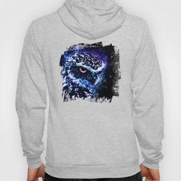 burrowing owl splatter watercolor cool blue Hoody