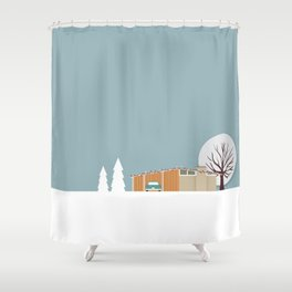 Retro series - Mid Century house in winter Shower Curtain