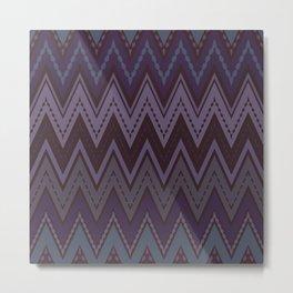 Dark purple blue zigzag Metal Print