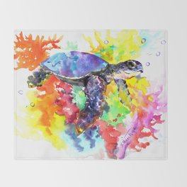 Sea Turtle in Coral Reef design, sea world colorful coral sea world design Throw Blanket