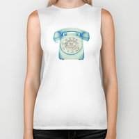 novelty Biker Tanks featuring Rotary Telephone - Ballpoint by One Curious Chip