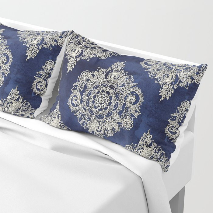 Cream Floral Moroccan Pattern on Deep Indigo Ink Pillow Sham