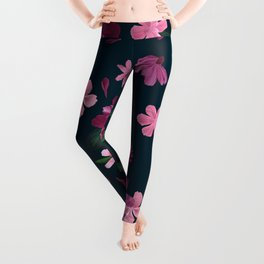Burgundy Blush Floral Pattern Leggings