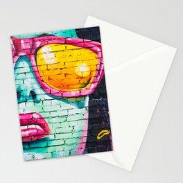 Woman in Sunglasses Graffiti Stationery Cards
