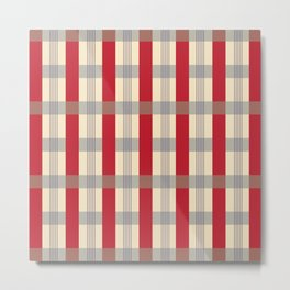 Red Striped Plaid Metal Print