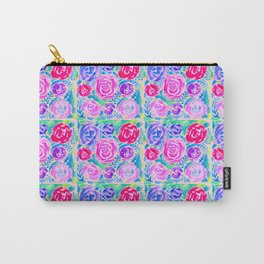 Watercolor Rose Tiles in Spring Bloom Carry-All Pouch