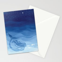 Mermaid, watercolor, blue, fish Stationery Cards