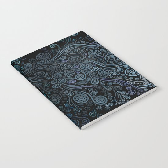 3D ornaments, blue Notebook