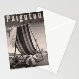 retro dark Paignton old psoter Stationery Cards