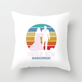 Retro Bride Groom To Be Wedding Marriage Under New Management Gift Throw Pillow