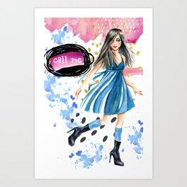 Call Me, flirty girl watercolor artwork Art Print