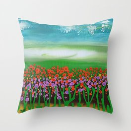 The meadow - A landscape in the background a blue sky and wildflowers Throw Pillow
