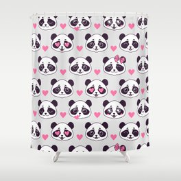 Cute pattern with panda. Shower Curtain