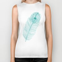 peacock feather Biker Tanks featuring Peacock Feather by AleDan