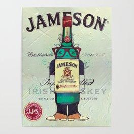 Irish Whiskey cartoon illustration original painting print Poster