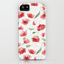 Loose poppies on watercolor background iPhone Case