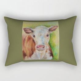 CALF Cute farm animal portrait oil painting Rectangular Pillow
