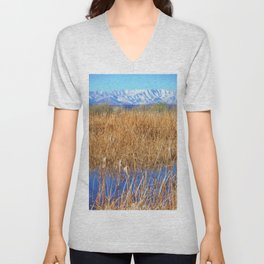 Dusting of Snow and Pond Tails by Reay of Light Unisex V-Neck