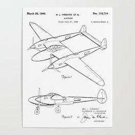 Lockheed P-31 Airplane Patent - Lightning Aircraft Art - Black And White Poster