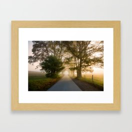 Daylight and Mist - Road with Warm Light in Great Smoky Mountains Framed Art Print