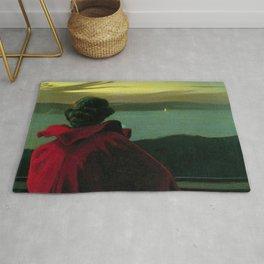 The Longing, Daybreak, Woman in Red coastal landscape painting by Harald Slott-Møller Rug
