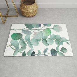 Watercolor, eucalyptus, leaves, botanical, foliage, plants, jungle decor Rug