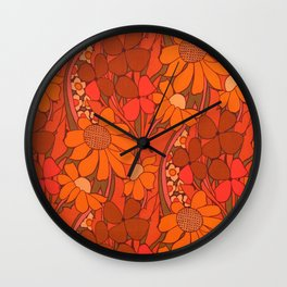 Vintage floral linen fabric  Wall Clock