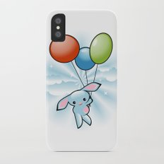 Cute Little Blue Bunny Flying With Balloons Slim Case iPhone X