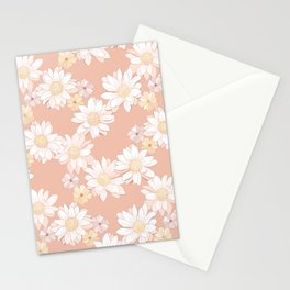 Daisies - White and Blush Pink Bloom Stationery Cards