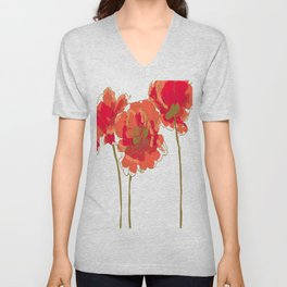 Red Poppies Unisex V-Neck
