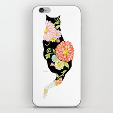 Exotic Floral Black Cat Silhouette iPhone Skin