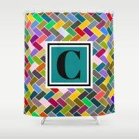 monogram Shower Curtains featuring C Monogram by mailboxdisco