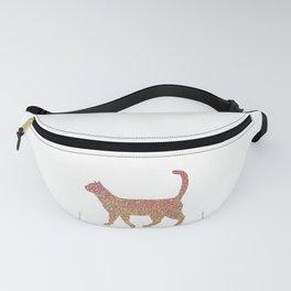 Rose Gold Walking Cat Design Fanny Pack