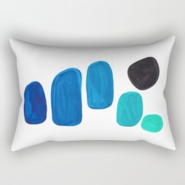 Colorful Mid Century Modern Pop Art Minimalist Style Teal Blue Aquamarine Bubbles White Background Rectangular Pillow