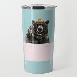 Big Bear in Bathtub Travel Mug
