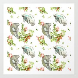 Manatee and Coral  Art Print