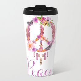 Peace Symbol Flower Power 70s Art Travel Mug