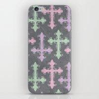 pastel goth iPhone & iPod Skins featuring Pastel Goth | Grunge Grey by Glitterati Grunge
