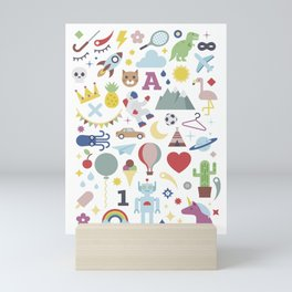 Kids Pattern Party Flat Mini Art Print