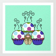 Cute Monster With Pink And Blue Polkadot Cupcakes Art Print