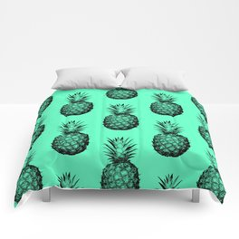 Pineapple! Black on mint green Comforters