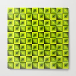 Fashionable large glare from small yellow intersecting squares in gradient dark cage. Metal Print