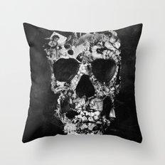 Vintage Skull BW Throw Pillow