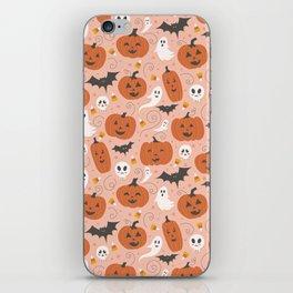Pumpkin Party on Blush Pink iPhone Skin