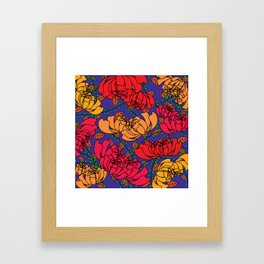 Flowery Pattern Blue Magenta Framed Art Print
