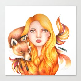 "Element Girls Drawing - ""Fire"" Canvas Print"