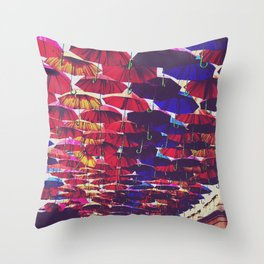 Rainbow Umbrellas Throw Pillow