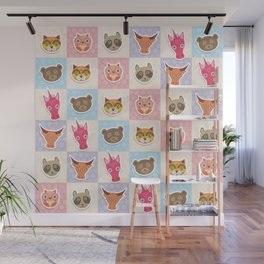 funny animals muzzle owl raccoon unicorn cow bear cat seamless pattern with pink lilac blue Wall Mural